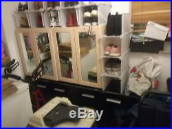 2 Tier Wooden Storage Cabinet Side Furniture With Mirrored Doors x 2 units