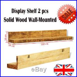 2 pcs Solid Mango Wooden Shelf Storage Unit Stand Wall Mounted Shelves Display