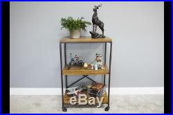 3 Tier Shelving Unit With Wheels Industrial Wooden Shelves Metal Frame Storage