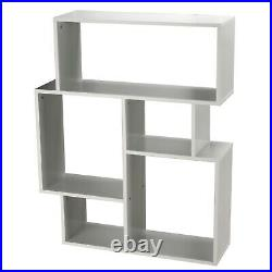 5 Cubed White Small Modern Side Unit Wooden Bookcase Storage Furniture Bedroom