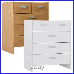 5 Drawer Wooden Bedroom Chest Cabinet Modern Wide Storage Cupboard Closet Table