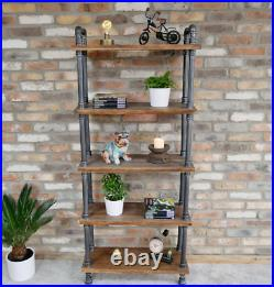 5 Tier Pipe Shelves Wooden Display Racking Book Storage Shelving Unit Industrial