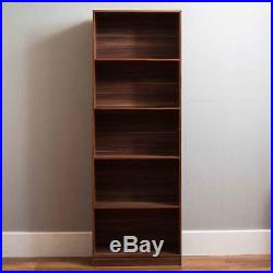 5 Tier Walnut Wooden Large Bookcase Home Office Book Shelf Cabinet Display Unit