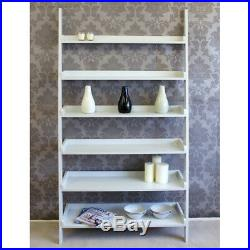 6 Tier Wooden Wall Rack Leaning Ladder Shelf Unit Bookcase Display Extra Wide