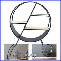 90cm Iron Wire Round Standing Shelf Unit with3 Wooden Shelves Floor Flower Stand