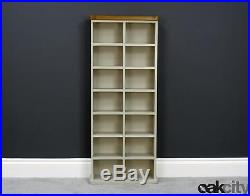 Aspen Painted Oak Tall Double DVD CD Unit Sage / Grey Storage Tower