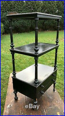 Beautiful Antique Vintage Victorian Wooden Free Standing Shelving Unit With Draw