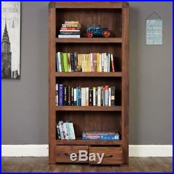 Bentley Walnut Furniture Wooden Large 4 Shelf Bookcase Display Unit with Drawers