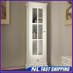 Best! Chic Bookcase Cabinet with 3 Shelves White Wooden Home Display Unit