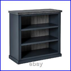 Bristol Charcoal Low Bookcase 3 Shelf Unit Wooden Top Grey Painted Wooden Top