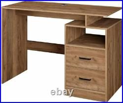 Brown Office Desk Computer PC Table Wooden Unit 3 Storage Drawers Open Shelf