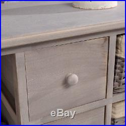 Chest Of 4 Wooden Drawers Shelf Unit Shabby Chic Gray With 3 Baskets Shelves New
