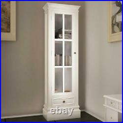 Chic Bookcase Cabinet Storage Display Unit Shelving with 3 Shelves White Wooden
