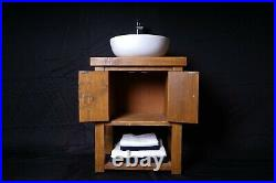 Cottage Farmhouse Wooden Chunky Vanity Unit With Cupboard & Storage Shelf