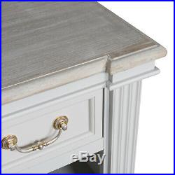 Country Dove Grey White Wooden Wide Low Book Shelf Shelving Unit Drawers H18891