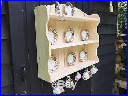 Cup and saucer plate display unit hand made wall mounted wooden