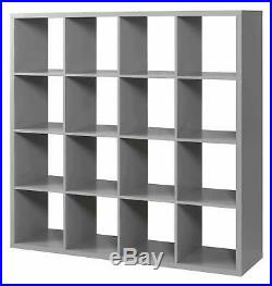 Deluxe Chunky Storage Cube 16 Shelf Bookcase Wooden Display Unit Organiser Grey