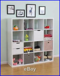 Deluxe Chunky Storage Cube 16 Shelf Bookcase Wooden Display Unit Organiser White
