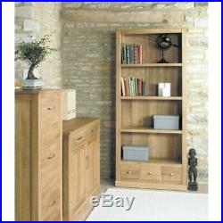 Fusion Solid Oak Wooden Furniture Large Tall 3 Drawer Bookcase Display Shelving