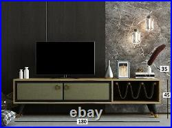 GOLD London Modern TV Stand Unit Wooden Media Storage, Shelves up to 70