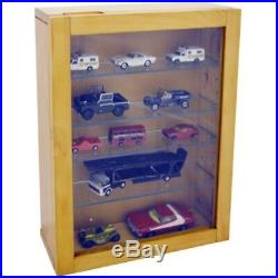 Glass Display Cabinet Unit Wall Mounted Collectors Shelves Storage Unit Wooden