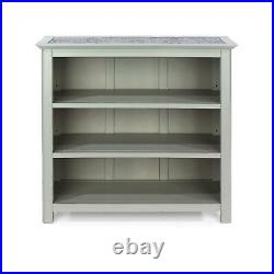 Grey 3 Tier Low Bookcase Display Adjustable Wooden Shelving Unit Stone Top