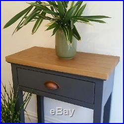 Grey HALL TABLE wood SOLID OAK TOP with drawer base shelf contemporary slim unit
