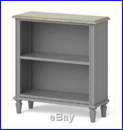 Grey Painted Low Bookshelf Wooden Oak Top Small French Bookcase Shelving Unit