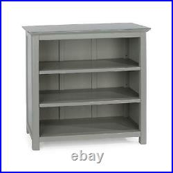 Grey Painted Wooden 3 Tier Shelving Low Bookcase Display Unit Toughned Glass Top