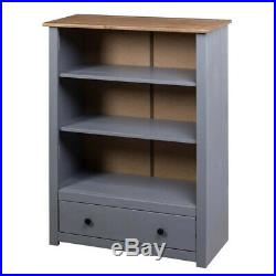 Grey Wooden Bookcase 3 Shelves 1 Drawer Storage Room Shelving Display Unit Stand