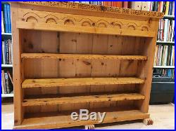 Heavy Wooden Medieval Style Bookcase with Inscription from'Battle of Maldon' Poem
