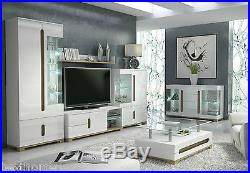 High Gloss White Display Unit Glass Door Tall Cabinet Lounge LED Light Furniture