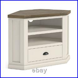 Hove Ivory Corner TV Stand Cream Painted Wooden Entertainment Unit Shelf Drawer