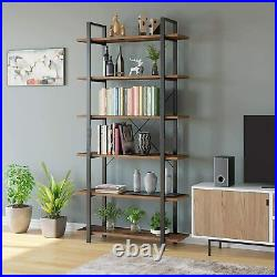 Industrial 6-Tier Tall Bookcase Bookshelf Storage Unit Wooden Shelving Display