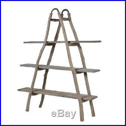 Industrial A-shaped wooden shelves unit