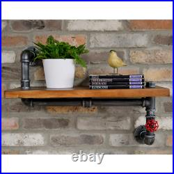 Industrial Pipework Wooden Wall Shelf Display Storage Shelving Unit 63cm