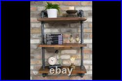 Industrial Steel Pipe Wall Unit Vintage Stylish Wall Mounted Wooden Shelves