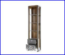 Industrial Style Bookcase Tall Wooden Storage Display Vintage Cabinet Shelf Unit