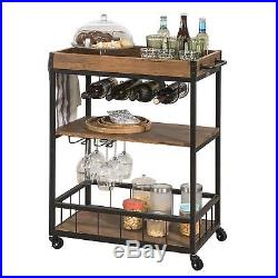 Industrial Style Serving Trolley Wood Shelving Unit Steel Frame Drinks Cart Tray