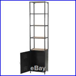 Industrial Tall Slim Bookcase Vintage 4 Wooden Tiers Shelving Unit Steel Cabinet
