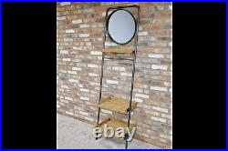 Industrial Wall Unit Stand Up Mirror and Wooden Shelves Industrial Style