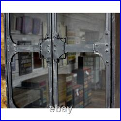 Industrial Wooden Wall Cabinet With 2 Glass Doors Display Shelf Shelving Unit
