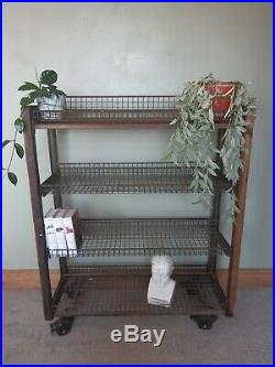 Industrial vintage double sided shelving unit retail home trolley metal wooden