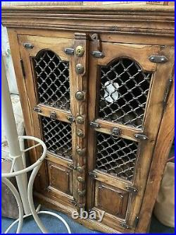 Jali Sheesham Metal Wrought Iron And Wooden Bookcase Cabinet Shelves Collect Cw5