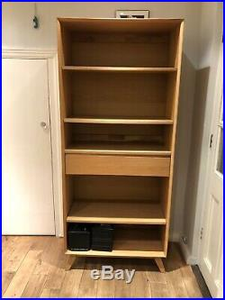 John Lewis wooden shelving unit in light oak with 5 shelves and 1 drawer