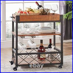 Kitchen Storage Trolley Cart Rolling Food Tray Shelves Wooden Unit and Wine Rack