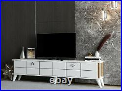 LORD Modern TV Cabinet Stand Unit Wooden Media Storage Space Shelves up to 70