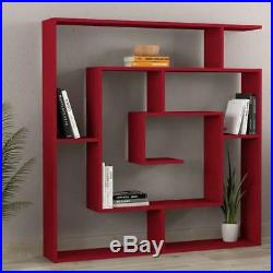 Large Bookcase Display Unit Red Shelf Wooden Storage Wall 5 Tier Modern Office