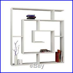 Large Bookcase Display Unit White Shelf Wooden Storage Wall 5 Tier Modern Office