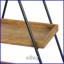 Large Industrial Style Triangular Display Unit Wooden Shelves Metal Frame